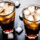 Free Download cola with ice on a wooden background. soft drinks Nulled