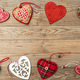 Valentines day. Top view, flat lay of various hearts, wooden background. - PhotoDune Item for Sale