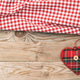 Valentines day. Top view of fabric hearts, wooden background, banner. - PhotoDune Item for Sale