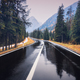 Perfect asphalt mountain road in overcast rainy day in Dolomites - PhotoDune Item for Sale
