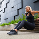 Welltrained Happy Young Woman Doing Triceps Dips in the City - PhotoDune Item for Sale