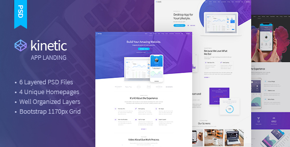 Kinetic - App Landing One Page PSD Template - Software Technology