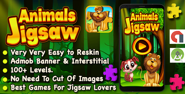 Animal Jigsaw Puzzle Game For Kids + Ready For Publish + Android - CodeCanyon Item for Sale
