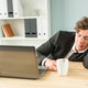Free Download Business, humor and people concept - Handsome man sleeping at workplace Nulled