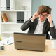 Free Download Humor, joke and business people concept - funny man tired after working on computer in office Nulled