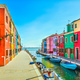 Free Download Venice landmark, Burano island canal, colorful houses and boats, Nulled
