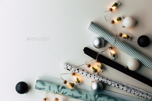 Christmas present wrapping twine, wooden vintage garland - Stock Photo - Images