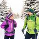 Couple hikers trekking in winter woods - PhotoDune Item for Sale
