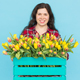 Free Download Young female florist with big box of yellow tulips over blue background Nulled