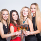 Free Download Party, new year and people concept - Cheerful young women with glasses of champagne at the party Nulled
