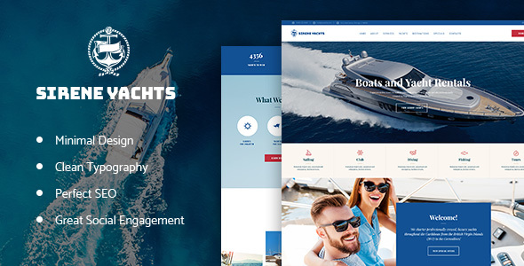 Sirene | Yacht Charter Services & Boat Rental WordPress Theme - Travel Retail