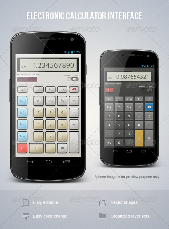Electronic Calculator Interface - User Interfaces Web Elements