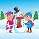 Kids Building a Snowman - GraphicRiver Item for Sale
