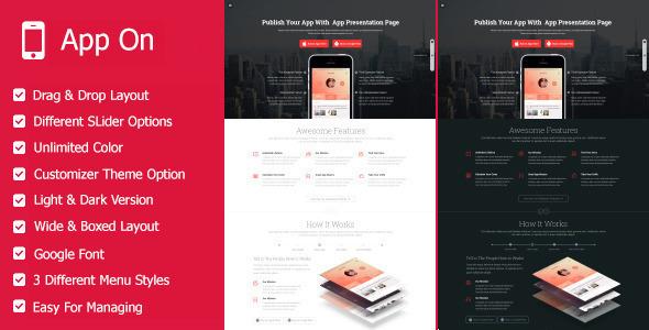 App on - Responsive App Landing WordPress Theme - Marketing Corporate