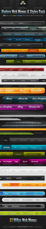 Modern Clean Web Menus & Styles Pack - Navigation Bars Web Elements