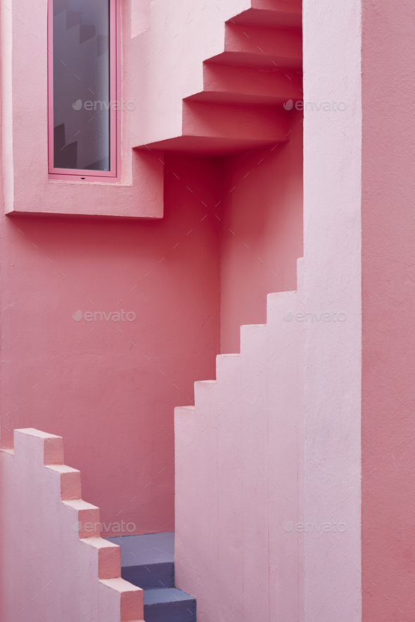 Geometric building detail. The red wall, La manzanera. Calpe, Spain - Stock Photo - Images