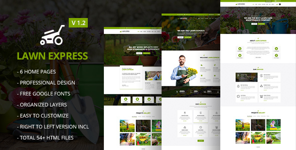 LawnExpress - Lawn Mowing, Gardening, Landscaping, Farming and Florist HTML5 Responsive Template - Marketing Corporate