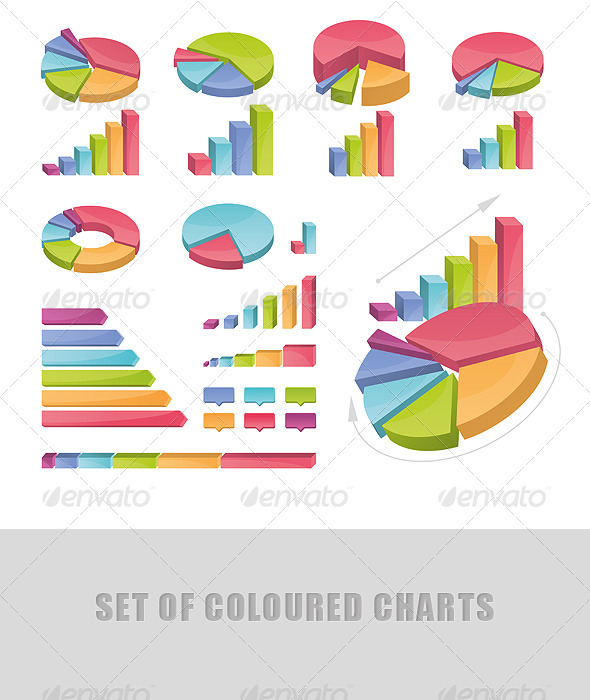Set Of Coloured Charts - Concepts Business