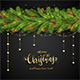 Black Background with Christmas Tree Branches and Golden Stars - GraphicRiver Item for Sale