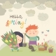 Cartoon Boy and Girl with Spring Flowers - GraphicRiver Item for Sale