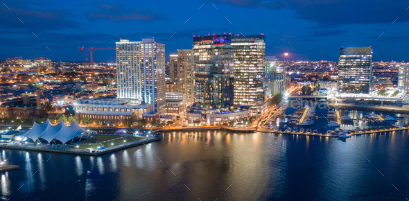 Aerial View Over Baltimore Downtown City Skyline Inner Harbor - Stock Photo - Images