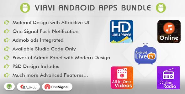 Viavi Top 5 Android Apps Bundle (TV, Radio, Wallpaper, MP3 & Videos) - CodeCanyon Item for Sale