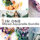 5 in One Mixed Aquarelle PS Action Bundle - GraphicRiver Item for Sale