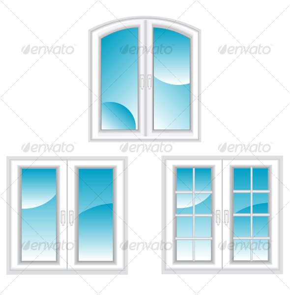 Plastic polymer windows - Objects Vectors
