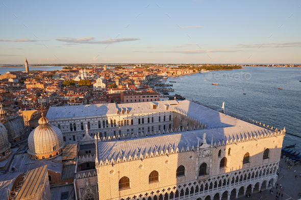 View of Venice from Saint Mark bell tower, sunset in Italy - Stock Photo - Images