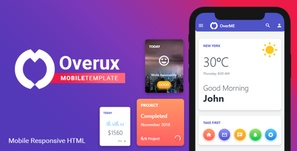 Overux Mobile Multipurpose - HTML Mobile App Template