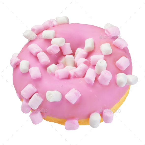 Pink donut isolated on white - Stock Photo - Images