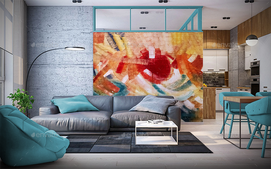 Art Wall Gallery Mockup Vol2 Frontal View Living Room