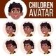 Boy Avatar Set Kid Vector. Black. Afro American - GraphicRiver Item for Sale