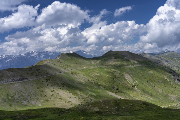 Mountain landscape along the road to Colle dell'Assietta - Stock Photo - Images