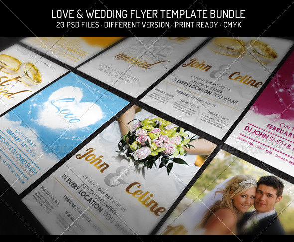 Bundle III. - Love & Wedding - Flyer Template - Flyers Print Templates