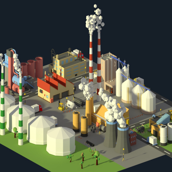 Low Poly Industrial Complex Pack - 3DOcean Item for Sale