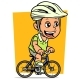 Cartoon Fat Boy Character Riding on Bicycle - GraphicRiver Item for Sale