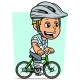 Cartoon Blonde Boy Character Riding on Bicycle - GraphicRiver Item for Sale