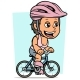 Cartoon Brunette Girl Character Riding on Bicycle - GraphicRiver Item for Sale