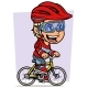 Cartoon Blonde Girl Character Riding on Bicycle - GraphicRiver Item for Sale
