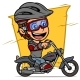 Cartoon Boy Character Riding on Retro Motorbike - GraphicRiver Item for Sale
