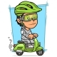 Cartoon Brunette Girl Character Riding on Scooter - GraphicRiver Item for Sale