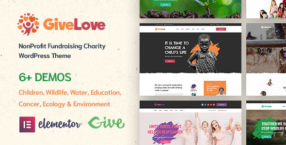 Download Givelove | Non-profit Charity & Crowdfunding WordPress Theme nulled 01 Preview