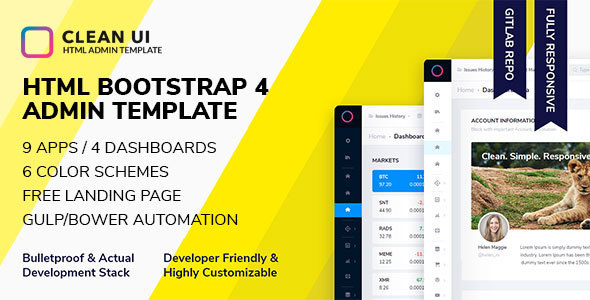 Clean UI HTML — Bootstrap Admin Template