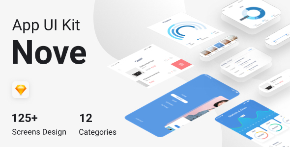 Nove - Mobile UI Kit of 125+ iOS Templates for Sketch - Sketch Templates