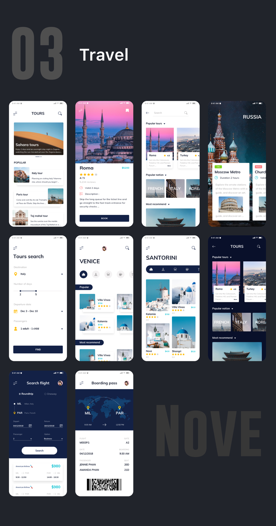 Nove - Mobile UI Kit of 125+ iOS Templates for Sketch