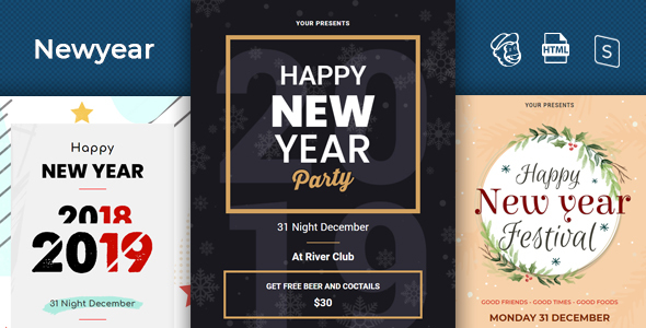 Newyear - Responsive Email + StampReady Builder by Rpixelcreative9