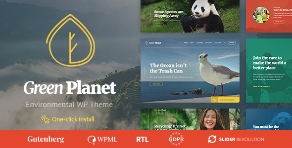 Ecology & Environment WordPress Theme - Green Planet - Environmental Nonprofit