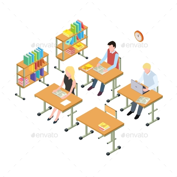 Students Working in the Library Isometric Vector