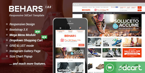 Behars Responsive 3dCart Template By Halothemes ThemeForest